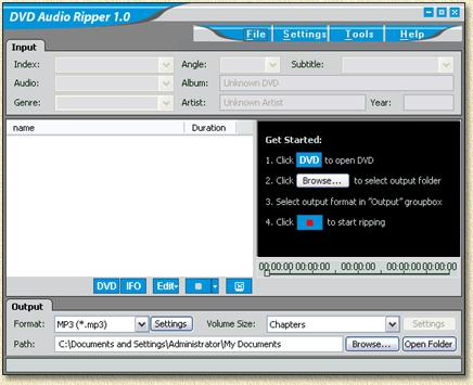 DVD Audio Ripper - Start scherm