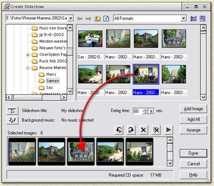 Ulead DVD Pictureshow: Add photo's to an album