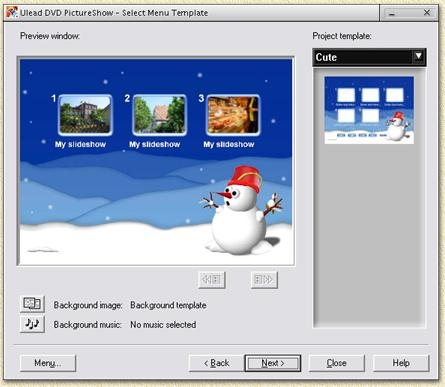 Ulead DVD Pictureshow: Set your favorite menu theme