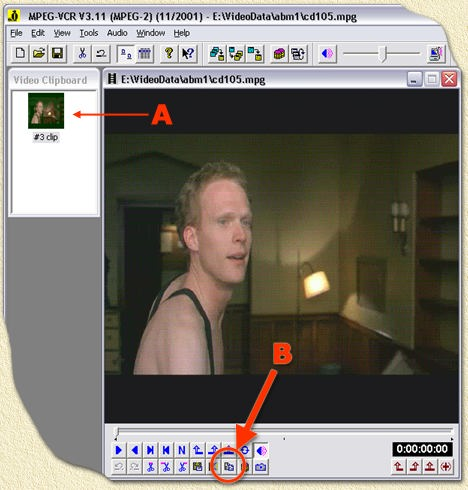 Womble MPEG2VCR: Copy the movie to the video clipboard