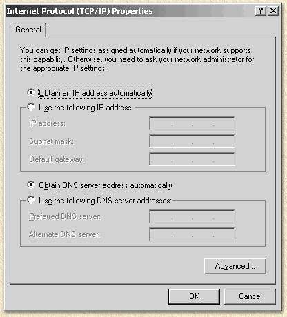 Windows 2000 TCP/IP instellingen
